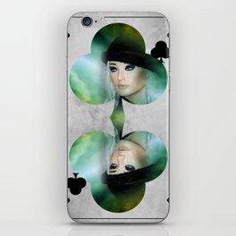 queen of clubs iPhone Skin