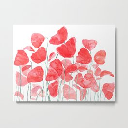abstract red poppy field watercolor Metal Print