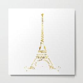 Digital-Art Eiffel Tower | golden Metal Print
