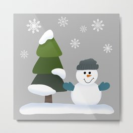 Felt Board Christmas Winter Flurry/Puffles the Snowman, Snowflakes, Snowy Trees and Mittens Metal Print