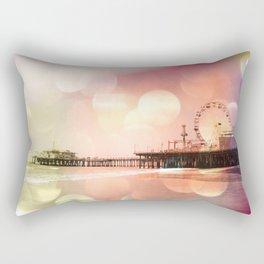 Sparkling pink Santa Monica Pier Rectangular Pillow