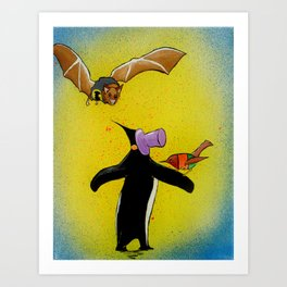 Bat and Robin versus Penguin Art Print