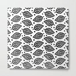 Mid Century Modern Falling Leaves Black and White 2 Metal Print