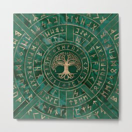 Tree of life -Yggdrasil and Futhark - Malachite Metal Print