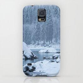 Heavy snow fall lake Fusine, Italy iPhone Case