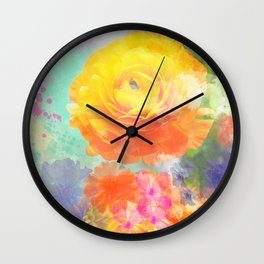 Artistic painterly Floral design with Ranonculus flower Wall Clock