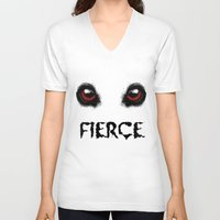 fierce V-neck T-shirts featuring Fierce by Nicolekay