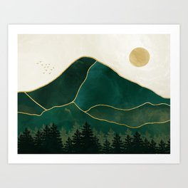 Mount Hood // Emerald Abstract Dream Oregon Green Gold Yellow Mountain Forest Wilderness Landscape Art Print