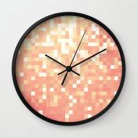 peach Wall Clocks featuring Peach by WhimsyRomance&Fun