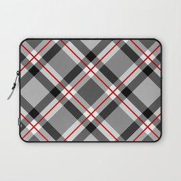 Large Modern Plaid, Black, White, Gray and Red Laptop Sleeve
