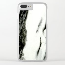Ebony White Marble With Captivating Black Veins Clear iPhone Case