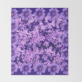 LILAC PURPLE SPRING PHLOX FLOWERS CARPET Throw Blanket