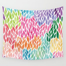 Rainbow Watercolor Leaf Teardrop Pattern Wall Tapestry