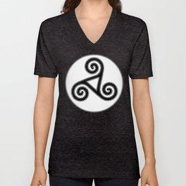Triskel V T-Shirts  Black and White Unisex V-Neck