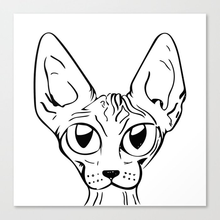 sphynx cat cartoon sphynx cat drawing sphynx illustration black and white ink canvas print by ananovakovic society6 sphynx cat cartoon sphynx cat drawing sphynx illustration black and white ink canvas print by ananovakovic