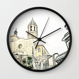 Stairs to the Beach from a medieval Church in Sitges near Barcelona Wall Clock