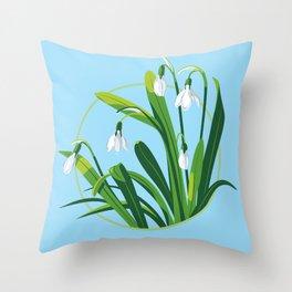Snowdrop Flowers Throw Pillow