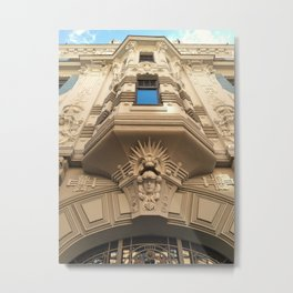 Looking up at stunning Art Nouveau architecture in Riga Metal Print