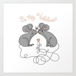 Mice In Love Valentine Art Print