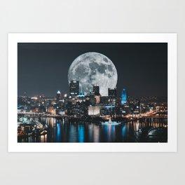 PGH #6 // Super Moon over Pittsburgh Art Print