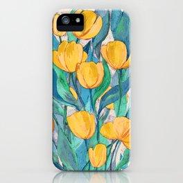 Blooming Golden Tulips in Gouache iPhone Case