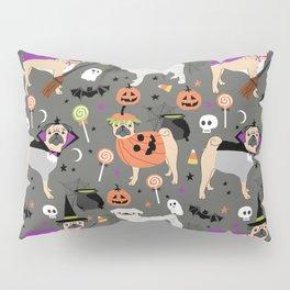 Pug halloween costumes mummy witch vampire pug dog breed pattern by pet friendly Pillow Sham