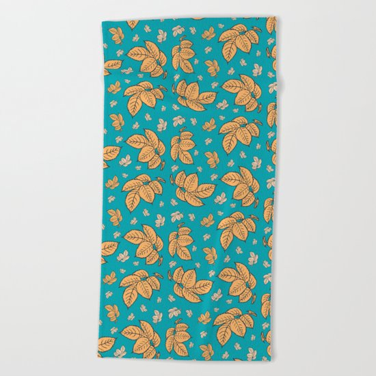 HAPPY LEAVES ON TURQUOISE (abstract tropical flowers) Beach Towel