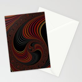 Colorful Abstract Zen Stripes Funky Stylish Red Gold Black Fractal Digital Graphic Art Design Stationery Cards