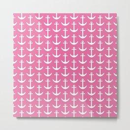 Pink Anchor Pattern - Girl Nautical Metal Print