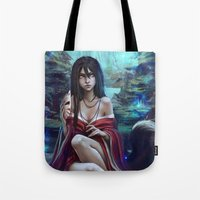 kitsune Tote Bags featuring Kitsune by Kate  Fox