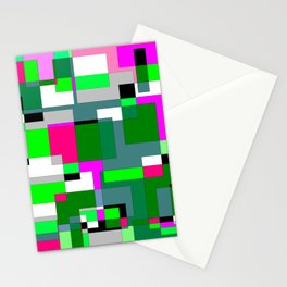 Pink and Green Blocks Stationery Cards