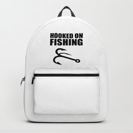 Hooked on fishing sports logo Backpack