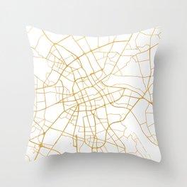 WARSAW POLAND CITY STREET MAP ART Throw Pillow