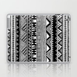 Black White Cute Girly Urban Tribal Aztec Andes Abstract Geometric Hand-drawn Pattern Laptop & iPad Skin