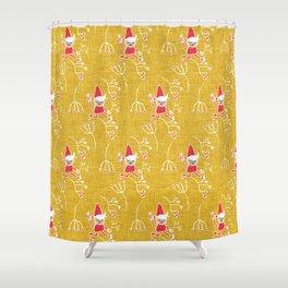 Santa Little Helper Gold #Holiday #Christmas Shower Curtain