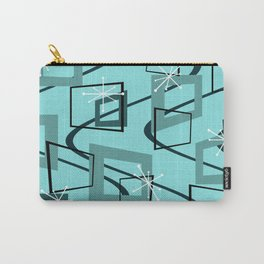 Mid Century Modern Minimalism Turquoise Carry-All Pouch
