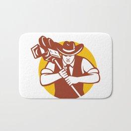 Cowboy Camera Operator Mascot Bath Mat