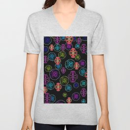 skull art portrait and roses in pink purple blue yellow with black background Unisex V-Neck