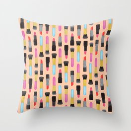 Lipstick and makeup Brushes Pastel Watercolor Artwork | Make-up Pattern | Orange Makeup pattern Throw Pillow