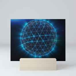 Sphere, globe and space in the form of a plexus. Mini Art Print