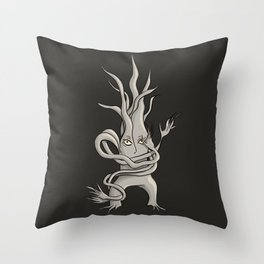 Creepy Tree Creature With Tangled Branches Throw Pillow