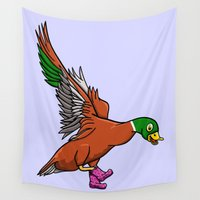 duck Wall Tapestries featuring Duck Boots by mailboxdisco