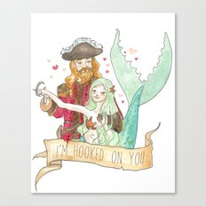 Valentine Mermaid and Pirate Canvas Print