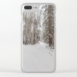 Snowy road Clear iPhone Case