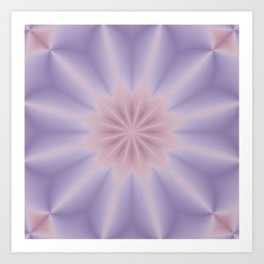 Pink and Lilac 3D Flower Three Art Print