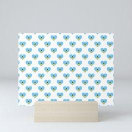 Saint Lucia Love flagMotif Repeat Pattern design background  Mini Art Print