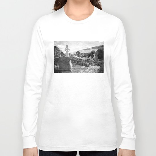 Halloween Graveyard | Horror | Black and White Cemetery | Gothic Graves | Long Sleeve T-shirt