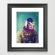 Luna Luchador Framed Art Print