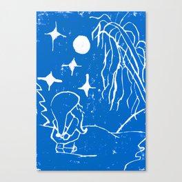 The Winter Elf - Snow Blue Canvas Print