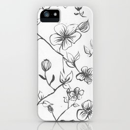 Black and White blooms iPhone Case